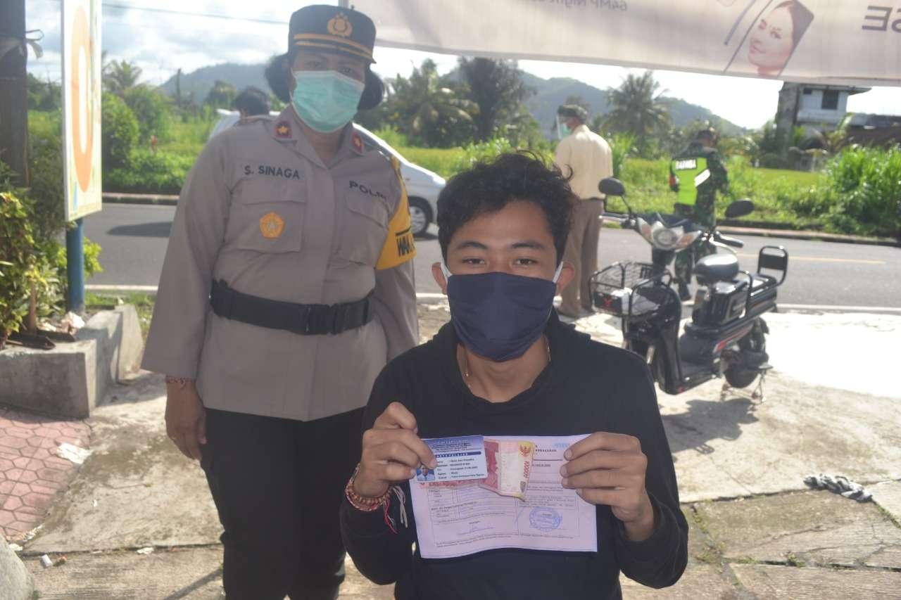 Masih di temukan Masyarakat Tidak Gunakan Masker Polres Klungkung Laksanakan Operasi Yustisi