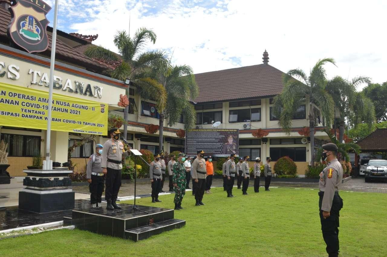 Kapolres Tabanan Pimpin Apel Kesiapan Operasi Kontijensi Aman Nusa Tahap II Tahun 2021